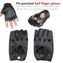 цена на 1 pair Black PU Half Finger Driving Show Women Gloves Fashion Punk Jazz Fingerless Gloves For Women Female