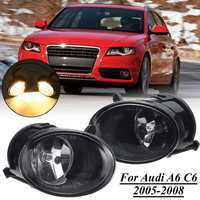 2Pcs 12V Car Front Bumper Grill Fog Light Headlights For Audi A6 C6 2005 2006 2007 2008 Bulb Styling Replacement Driving Lamp