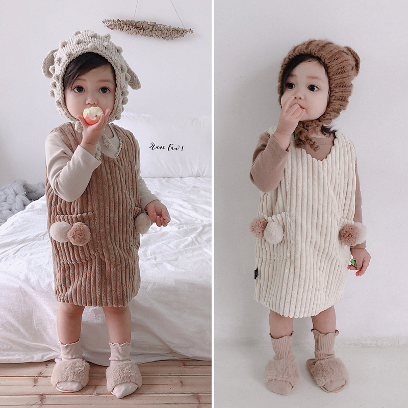 Girls Corduroy Dress Baby Warm Braces Children's Vest dress Baby Girl Clothes Girls Dresses For Party And Wedding corduroy overall dress