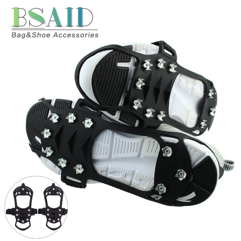 BSAID Outdoor Snow Ice Gripper 10 Nails, Ice Crampons Strap Climbing Cleats Spikes Non Slip Boots Silicone Covers Shoes Grip