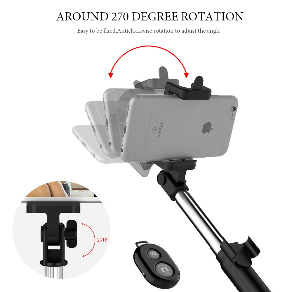 CASEIER 3 in 1 Aluminum Selfie Stick Bluetooth Foldable For iPhone XS MAX For Samsung Xiaomi Huawei Remote Handheld Selfiestick in Selfie Sticks from Consumer Electronics