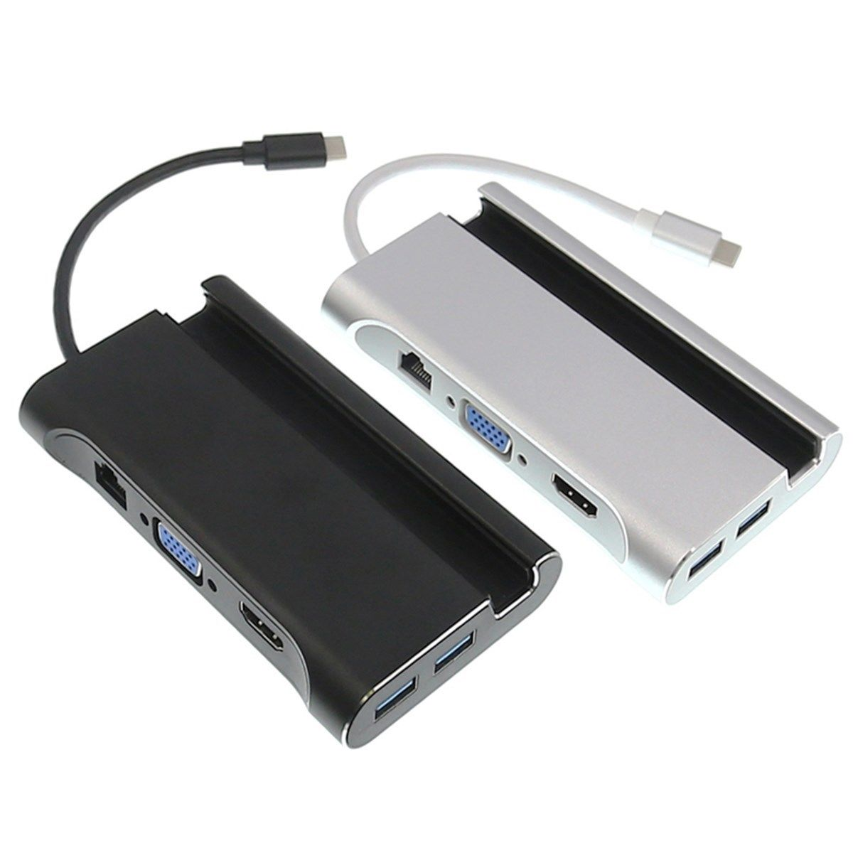 7In1 Usb C a 4 K Hdmi Vga Rj45 Ethernet Usb 3,1 puerto de tipo C adaptador de carga de Hub - 6