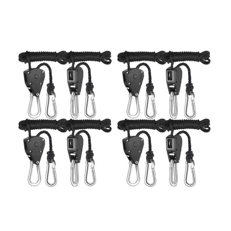 4 Pairs 1/8 Inch Adjustable Heavy Duty Rope Hanger - Reinforced Metal Internal Gears Ratchets, Loose-Proof Design, 8-Ft Long &