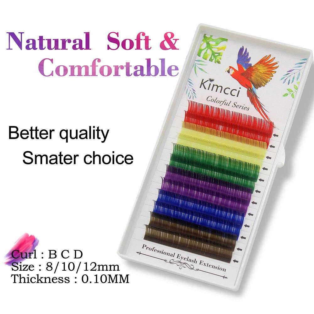 Kimcci 6 Rainbow Color Mix Faux Mink Eyelash Extension Professional Colorful Individual False Eyelashes Candy Maquiagem Cilios