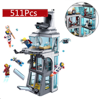 Legoing Star Wars Marvel SuperHero Iron Man Attack On Avenger Tower Brick Toy for Kids Gift