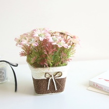 Simulated Flower Potted Landscape Set Fake Decorative Ornaments Oil Painting Basket Crafts of Chrysanthemum
