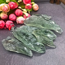 300g natural green crystal rough 4-7cm large grain gravel long tooth stone