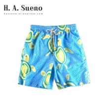 H.A. Sueno H.A.Sueno 2019 funny Turtle board shorts carton blue Surfing mens