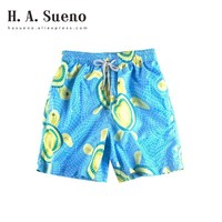 H.A.Sueno 2019 new arrivals funny Turtle mens board shorts carton blue Surfing mens swimming trunks Quick dry beach shorts /6