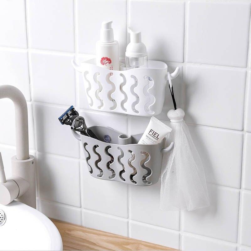 1 Pcs Plastic Storage Hanging Basket Kitchen Sink Organizer Multifunctional Scrubbers Holder Sponges Soaps Sucker Drain Rack