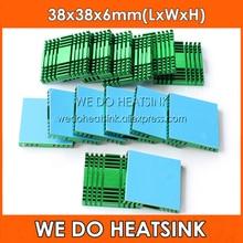 Мы делаем радиатор 2 шт. DIY 38x38x6 мм охлаждающий вентилятор радиатора зеленый Алюминий теплоотвод для Южная Америка/North Bridge Chipset с термолента