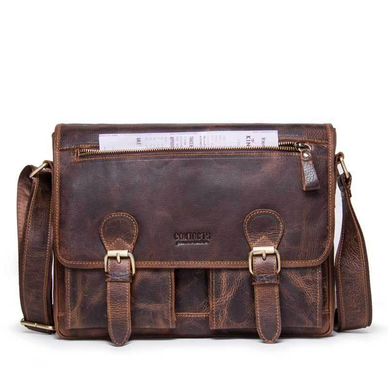 Marque de luxe Crazy Horse messenger sac hommes en cuir unique épaule paquet Oblique sacoche véritable homme mallette livraison gratuite