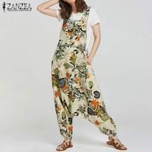 ZANZEA 2019 Summer Rompers Womens Jumpsuit Vintage Bohemian Floral Print Drop-Crotch Long Combinaison Ladies Cotton Playsuit drop crotch racer back solid cami jumpsuit