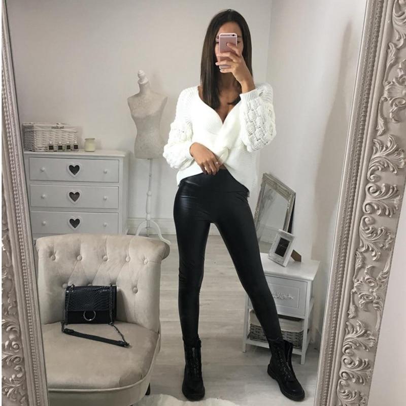 New 2019 Women High Waist Leather Leopard Snake Print Long Slim Pencil Pants Sexy Ladies Pants Elastic