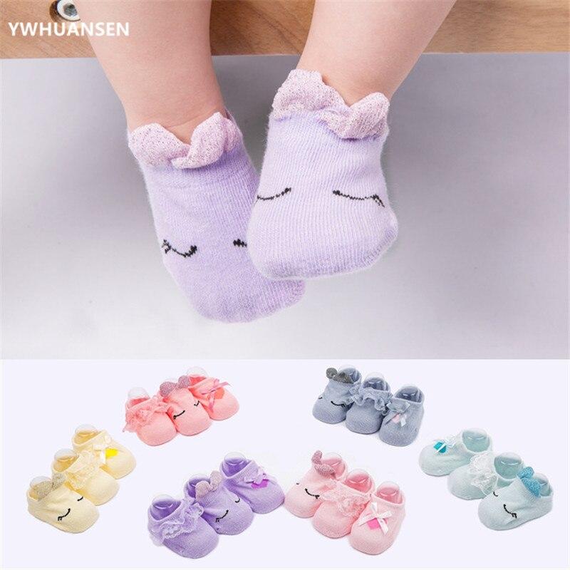 YWHUANSEN 3 Pairs/lot 0-2T Unisex Bowknot Cotton Baby Socks Set Cute Spring Autumn Newborn Infant Toddler Floor Socks Promoted