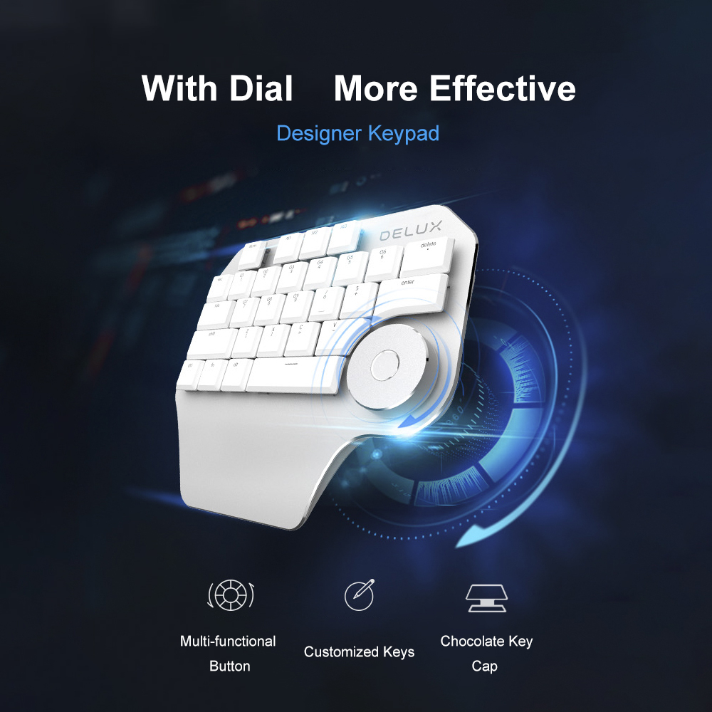 Image 5 - Delux T11 Designer Keyboard Keypad with Smart Dial 3 Group Customized Keys for Windows Mac OS & Design Software For PC Laptop-in Keyboards from Computer & Office