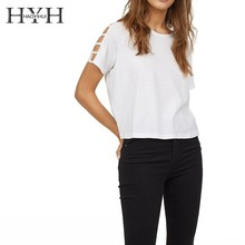 HYH HAOYIHUI  2019  Simple Shoulder Drop-like Open-loop Connection Easy To Match Round Collar White Jacket New Arrival недорого