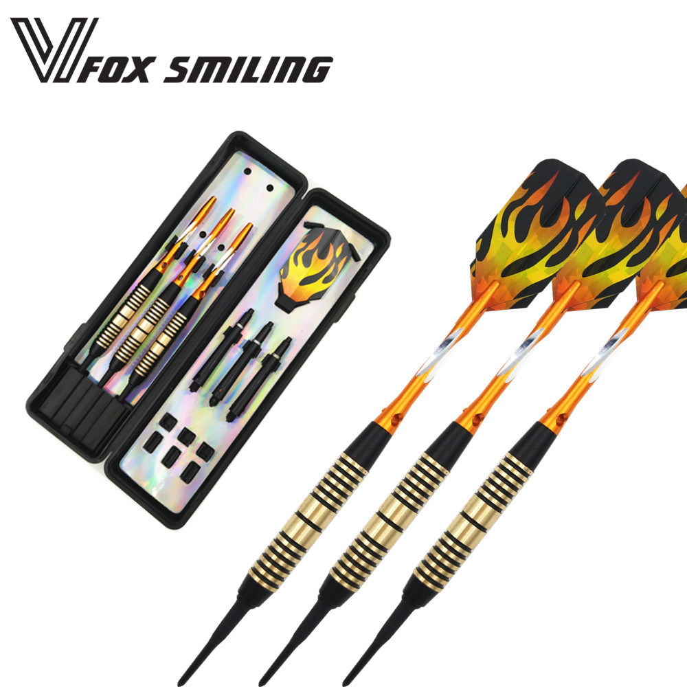 Fox Smiling 3pcs Professional Electronic Soft Tip Darts 18g Darts With Aluminum Alloy Shaft Gold