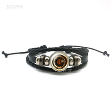 Antique Camera Lenses Black Leather Bracelet, Glass Cabochon Photography Jewelry Multi-layered Bracelet ,Men Women Gifts layered rhinestone faux leather bracelet