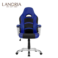 LANGRIA Эргономичный с высокой спинкой искусственная кожа гоночный стиль компьютерный игровой роскошный офисный стул регулируемый синий для ...