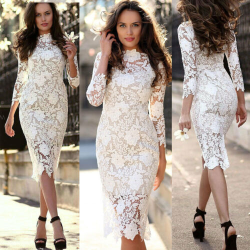 2019 Womens Celeb Bodycon Lace Midi Dresses V-neck Long Sleeve Party Dress Plus