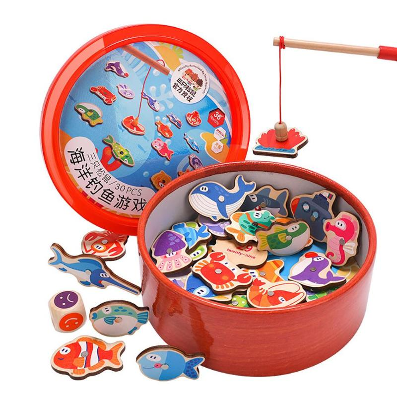 Magnetic Fishing Parent-child Interactive Toys Game Kids 30pcs Wooden Fish Baby Bath Toys Intellectual Toy Bucket Fishing Toys(China)