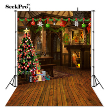 Thin Vinyl Fairy tale cabin backgrounds Christmas Tree Printing photography Backdrops camera Photo studio Photo Backgrounds