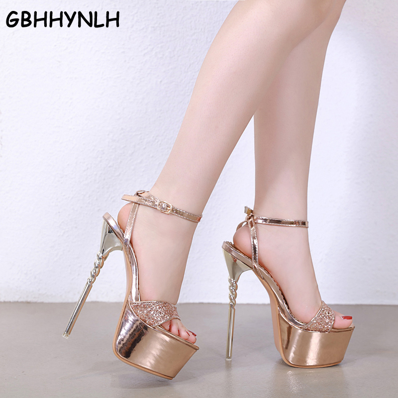 GBHHYNLH Women's 16cm Super High Heel Platform ShoesWedding Party Sandals Female Peep Toe Thin Heel Dress bling sandals LJA680