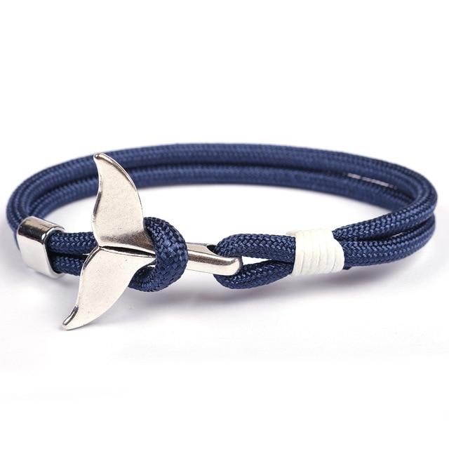 Shark Tail Whale Anchor Bracelet For Men Women Fashion Nylon Rope Chain Paracord Bracelet Male Wrist Bands