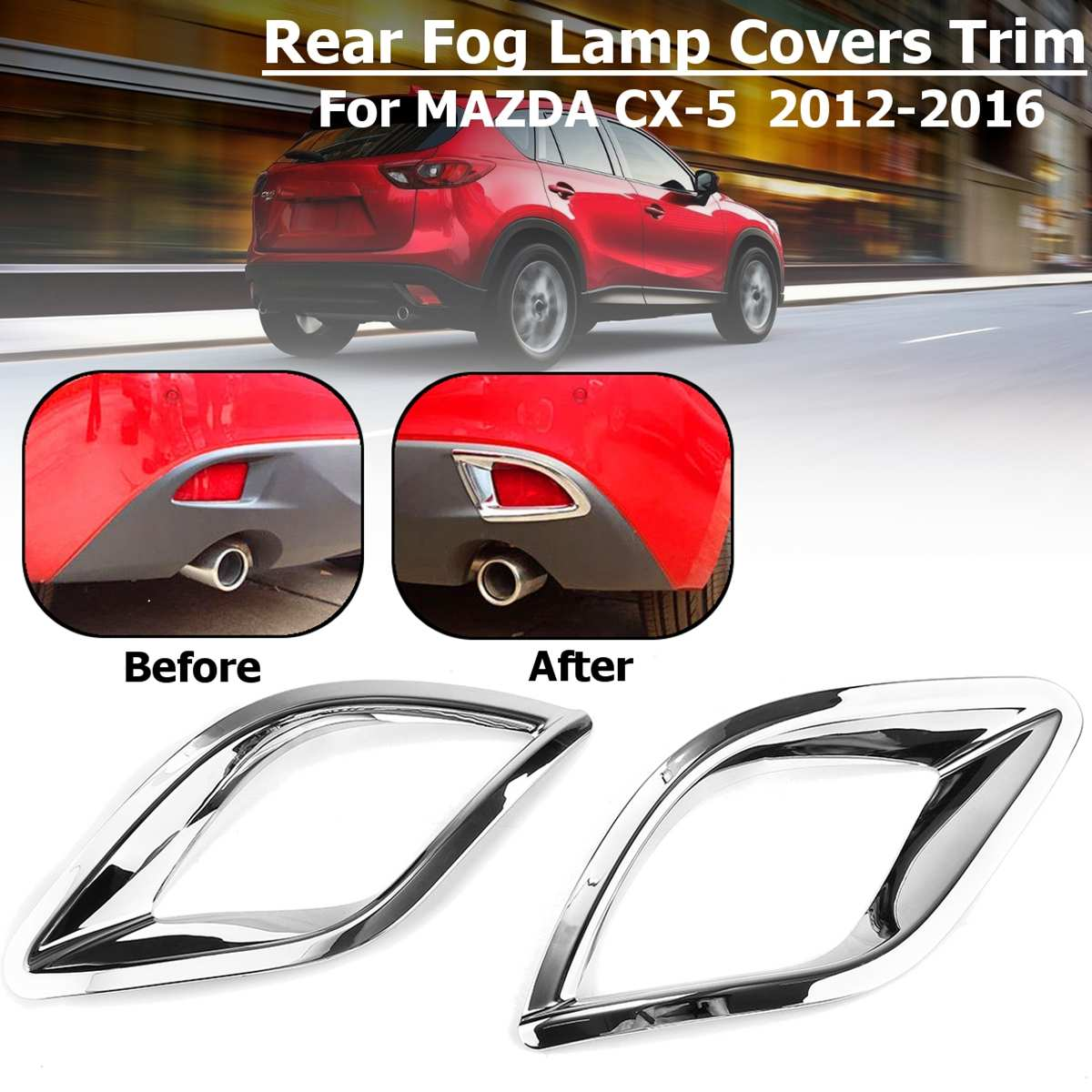Image 2 - Bumper Fog light Chrome Garnish For Mazda Cx 5 Cx5  2013 2014 2015 2016 Car Rear Tail Lights Lamp Shade Frame Trim Cover Styling-in Chromium Styling from Automobiles & Motorcycles