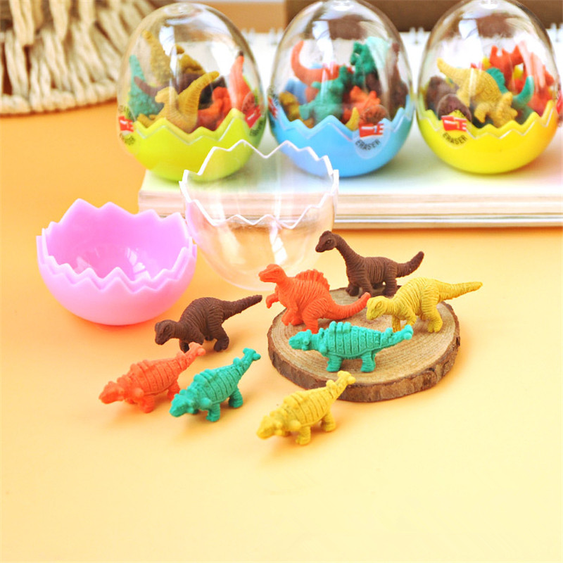 7 Pcs/lot Mini Cute Dinosaur Egg Eraser Kawaii TPR Rubber Eraser For Kids Girls Gift Cartoon Correction Supplies Stationery