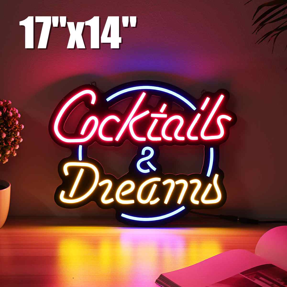 17x14 Cocktail Dream Real Glass Tube Neon Light Sign Tavern Beer Bar Pub Decoration Neon Lamp Board Commercial Lighting image