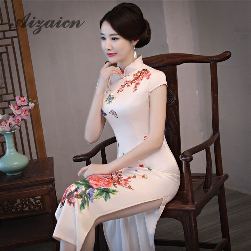 2019 Vintage Cheongsam Modern Pink Print Long Traditional Chinese Satin Dress Qipao Dresses Evening Gown Robe Orientale Qi Pao