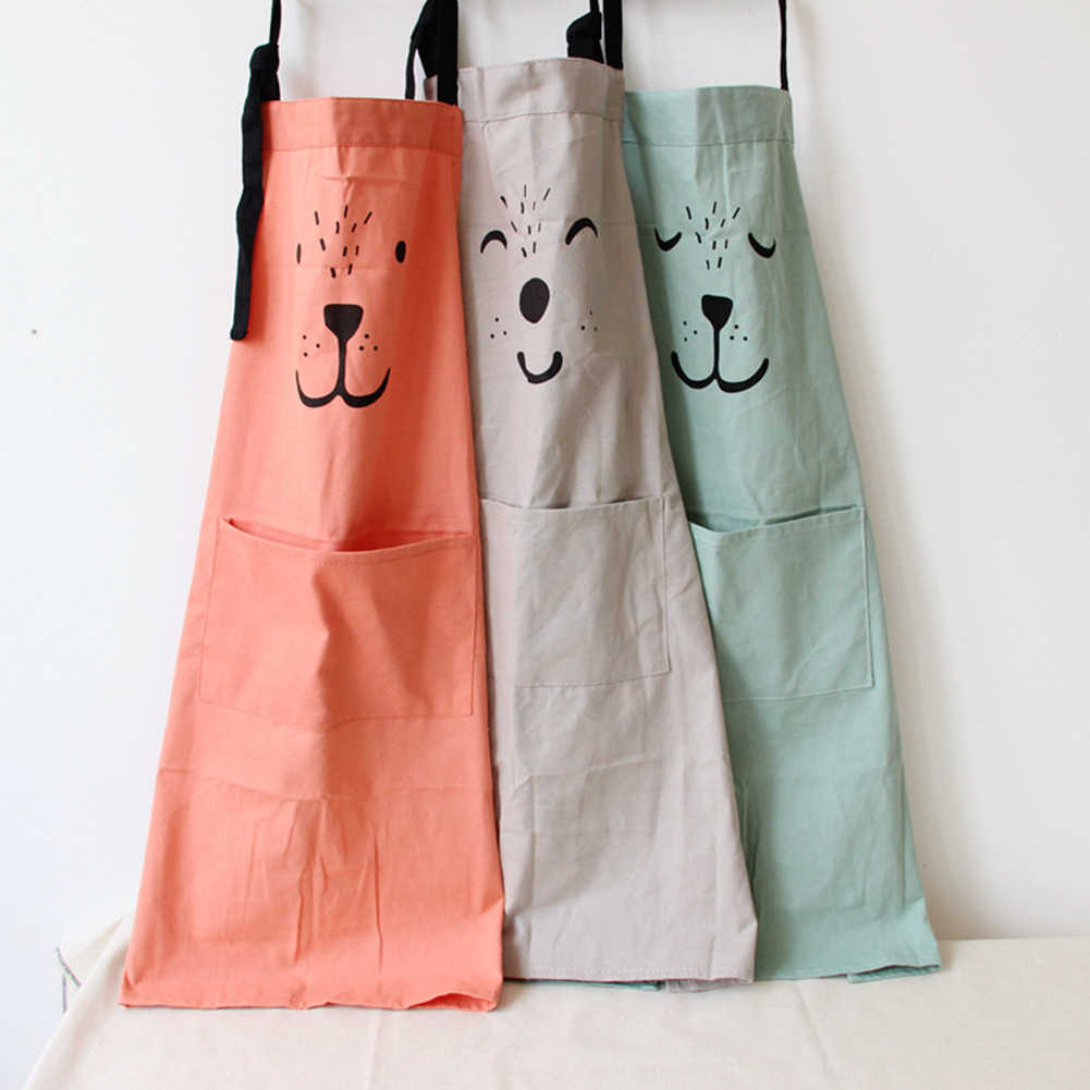Parent-Child Waterproof Animal Print Cotton Linen Kitchen Cooking Bib Apron Sleeveless Anti-oil Waist Kitchen Cooking Accessory