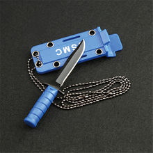 Portable Hike Package Open Necklace Survive Opener EDC Pocket Self Blade Fruit Knife Camp Outdoor Hunt Defense Mini Box Letter(China)