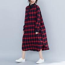 c19d7cb50 Vestidos de las mujeres de algodón de manga larga Vintage ropa para mujer