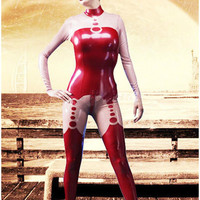 Red and Pink Catsuit Latex Suit Rubber Cute Full Cover Bodysuit Size XXS XXL
