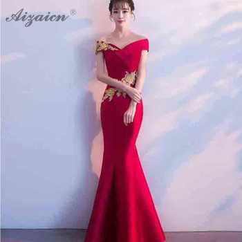 Fashion Crossing Strapless Embroidery Cheongsam Red Mermaid Tail Long Dresses Women Chinese Wedding Dress Robe Qi Pao Cotton - DISCOUNT ITEM  25% OFF All Category