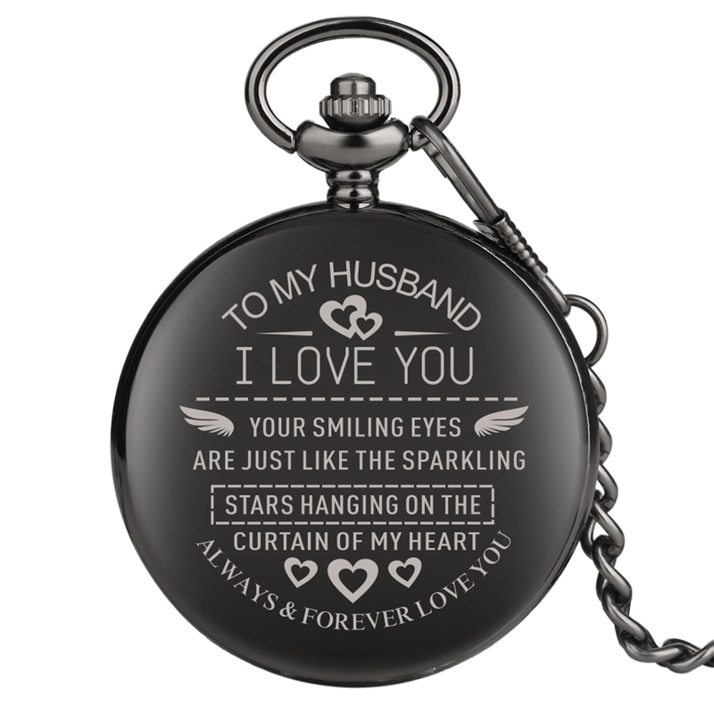Engraved Customized To My Husband I LOVE YOU Quartz Pocket Watch Chain Jewelry LOVE Anniversary Best Gifts For Lover Husband Men