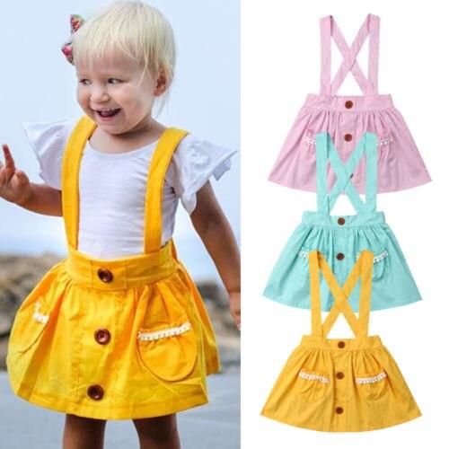 PüNktlich 2019 Marke Neue 6m-3y Kleinkind Kinder Baby Mädchen Insgesamt Röcke Einfarbig Taste Spitze Tasche Hosenträger Rock Sommer Kleidung Exquisite Verarbeitung In