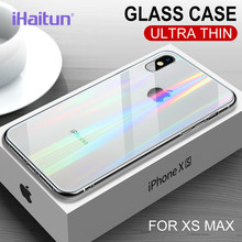 IHaitun Luxe Laser Glas Case Voor iPhone XS MAX XR X Gevallen Ultra Dunne Transparante Back Glass Cover Voor iPhone XS MAX Zachte Rand(China)