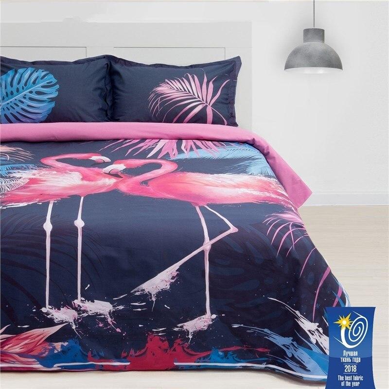 Bed Linen Ethel 2 CH Flamingo 175х215 cm, 200х220 cm, 50х70 + 3 cm-2 pcs, ранфорс 111g/m2 bed linen ethel 1 5 cn imperial 143х215 cm 150х214 cm 50х70 3 2 pcs ранфорс 111g m2