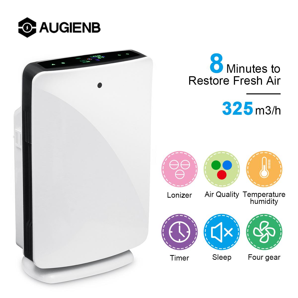 AUGIENB HEPA Filter Home 80W Air Purifier Humidification 5-Stage Odor Allergies Eliminator for PM2.5 Smoke Dust Mold Air CleanerAUGIENB HEPA Filter Home 80W Air Purifier Humidification 5-Stage Odor Allergies Eliminator for PM2.5 Smoke Dust Mold Air Cleaner