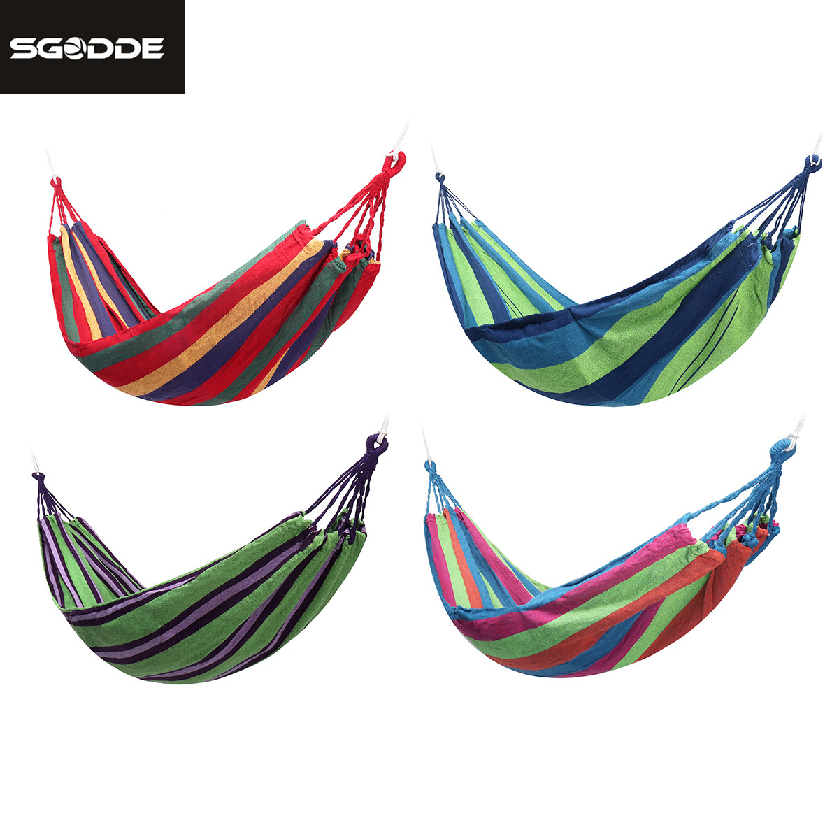 SGODDE 4Colors Portable Hammock Outdoor Hammock Garden Sports Home Travel Camping Swing Canvas Stripe Hang Bed Hammock With Bag