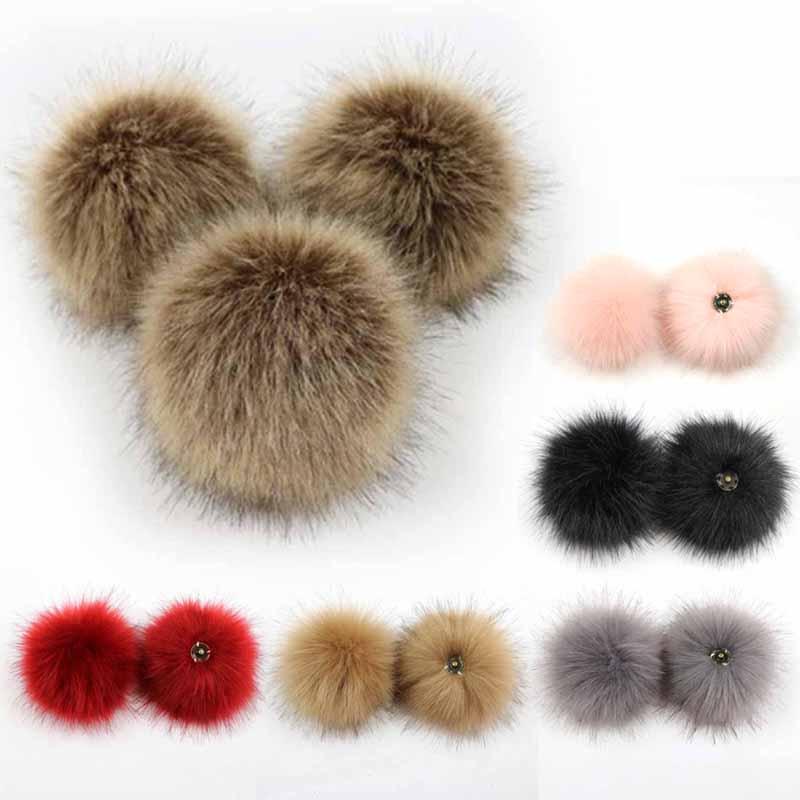 2PCS Fake Fur Ball With Press Button Clothes Pompoms Beanie Hats Caps Knitting Hat DIY Plush Balls 10cm Red/Black/White/Pink/Gra