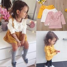 PUDCOCO/хлопковая футболка с длинными рукавами для маленьких девочек; От 0 до 5 лет одежда для детей; повседневные футболки