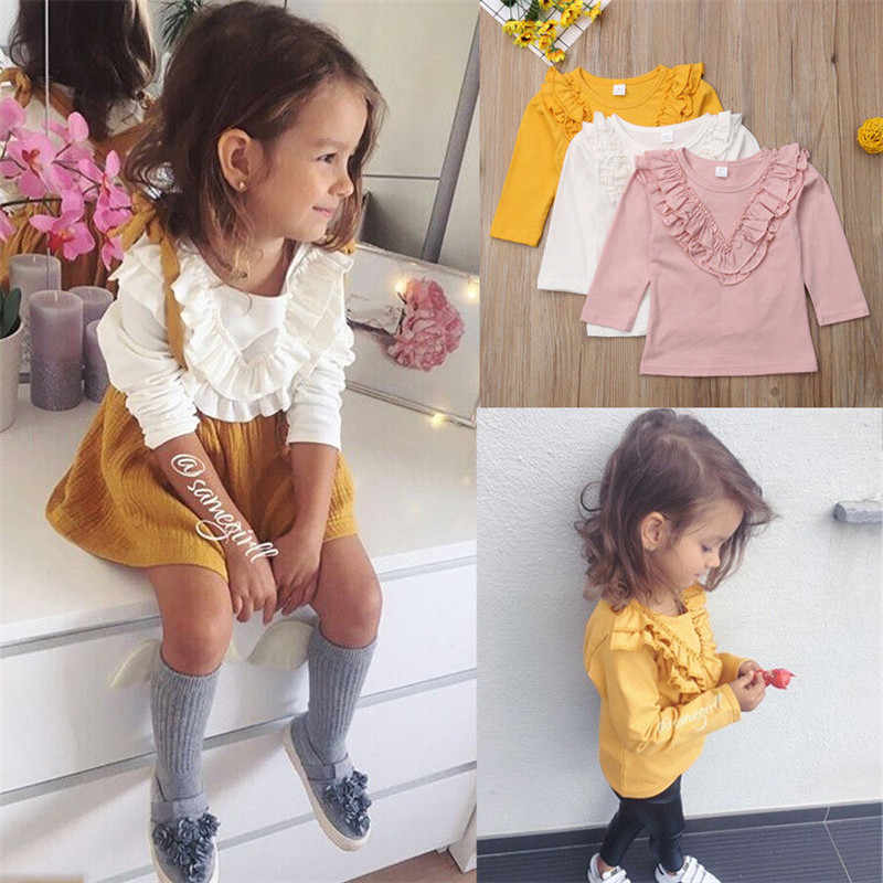 PUDCOCO Baby Girls Cotton Long Sleeve T-shirt 0-5 Year Children Clothing Casual Tops Tee
