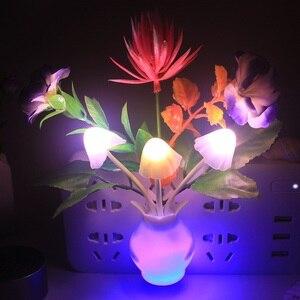 Image 2 - Veilleuse pour enfants, cuisine de chevet, contrôle lampe à Led champignon, tulipe, veilleuse, décoration de la maison