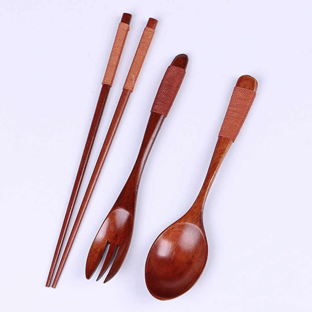 أدوات مائدة خشبية مجموعة النمط الياباني المحمولة السفر في الهواء الطلق تعادل خط الخشب حقيبة ملابس ملعقة عيدان شوكة مجموعة بحبل