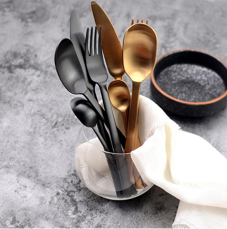 Image 4 - 4Pcs/Lot New Arrival Multicolor Cutlery Set Matte Stainless Steel Dinnerware Set Black Rose Gold Knife Fork Scoop Tableware Set-in Dinnerware Sets from Home & Garden
